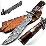 BK-3039 Handmade Damascus Steel 15 Inches Bowie Knife - Beautiful Rose Wood Bone & Bull Horn Handle