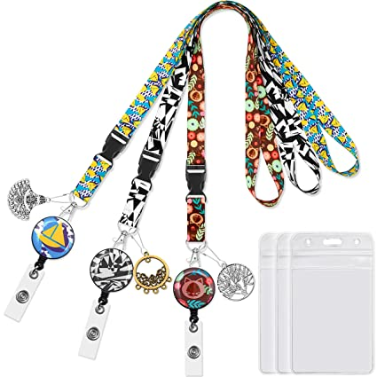 7bb8286075b9 Lanyard with Badge Reel Retractable Clip Badge Holder Vertical 3pack  Carabiner reels with Id Card Badge Holders Black&White lanyards for Women  Keys ...