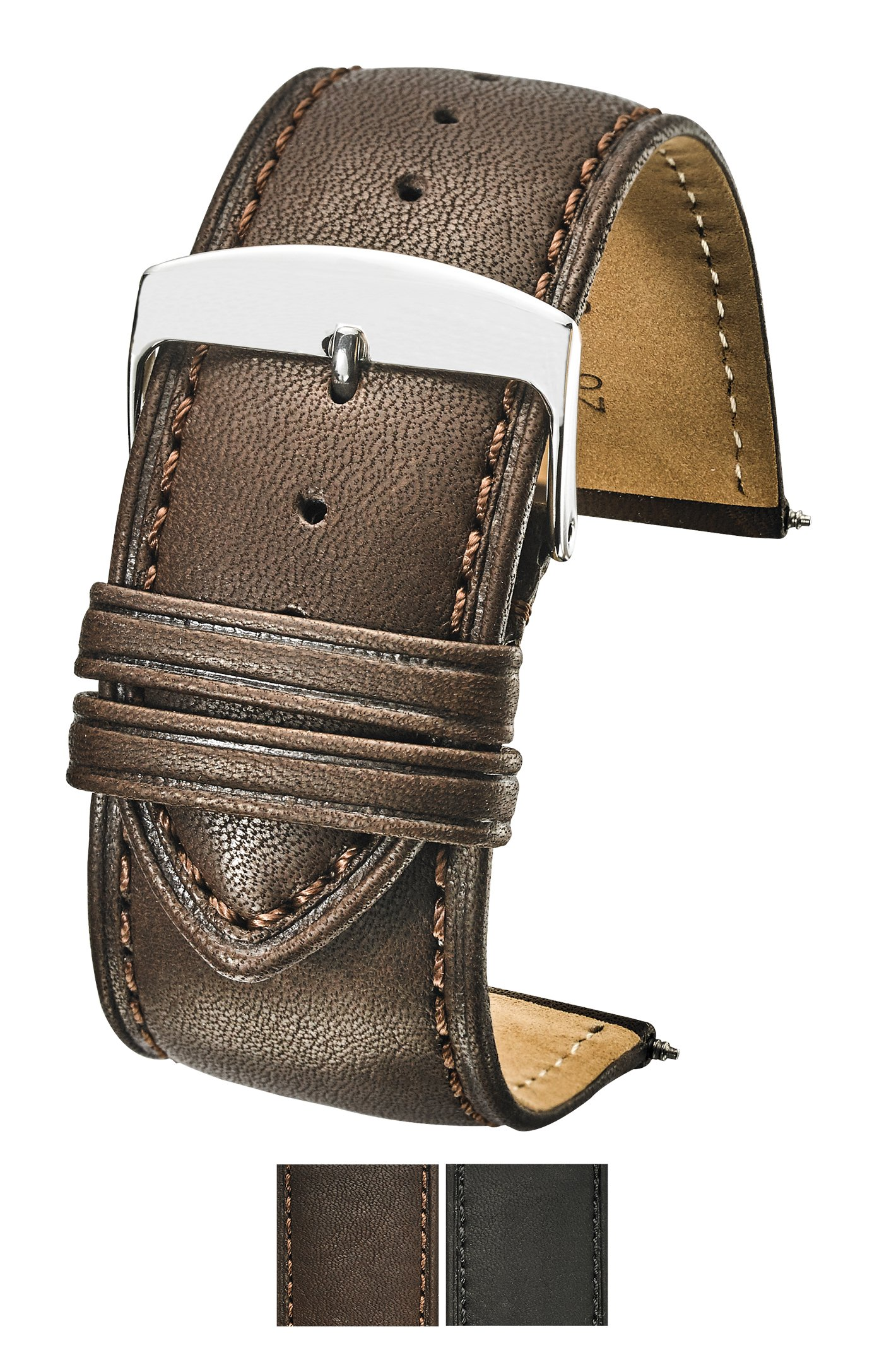 Genuine Leather Watch Band (fits Wrist Sizes 6-7 1/2 inch)- Brown - 30mm by STUNNING SELECTION (Image #1)