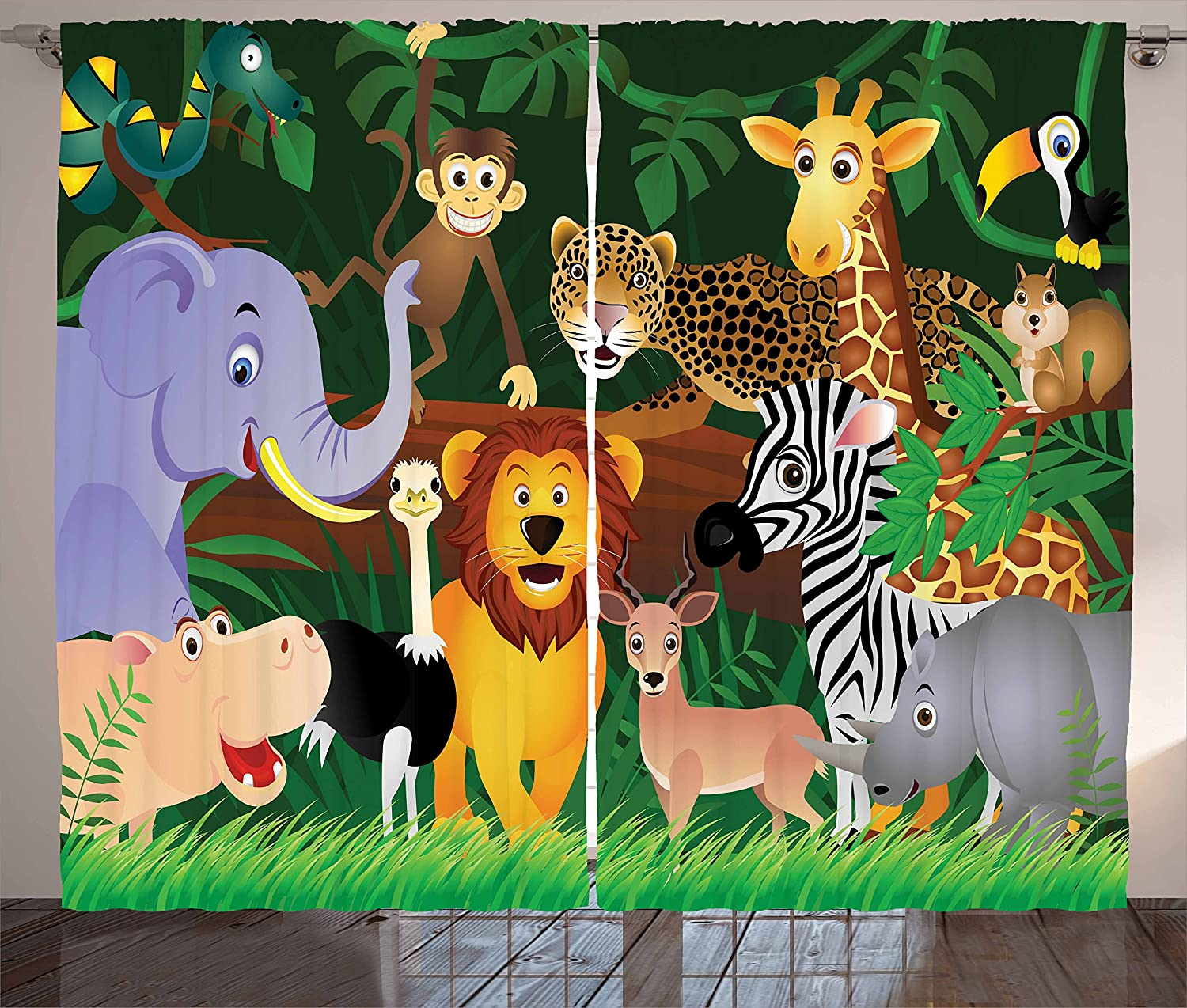"Ambesonne Zoo Curtains, Animals in The Jungle Funny Expressions Exotic Comic Cheer Natural Habitat Illustration, Living Room Bedroom Window Drapes 2 Panel Set, 108"" X 63"", Pine Green"