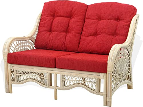 Malibu Lounge Loveseat Sofa Natural Rattan Wicker Handmade Design with Red Cushions, White Wash