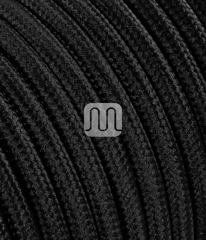 Section 2/x 0.75 Noir Coton C/âble /électrique rond//rond avec rev/êtement en tissu