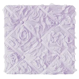 Sweet Jojo Designs Purple Floral Rose Fabric Memory Memo Photo Bulletin Board - Solid Light Lavender Flower Luxurious Elegant Princess Vintage Boho Shabby Chic Luxury Glam High End Roses