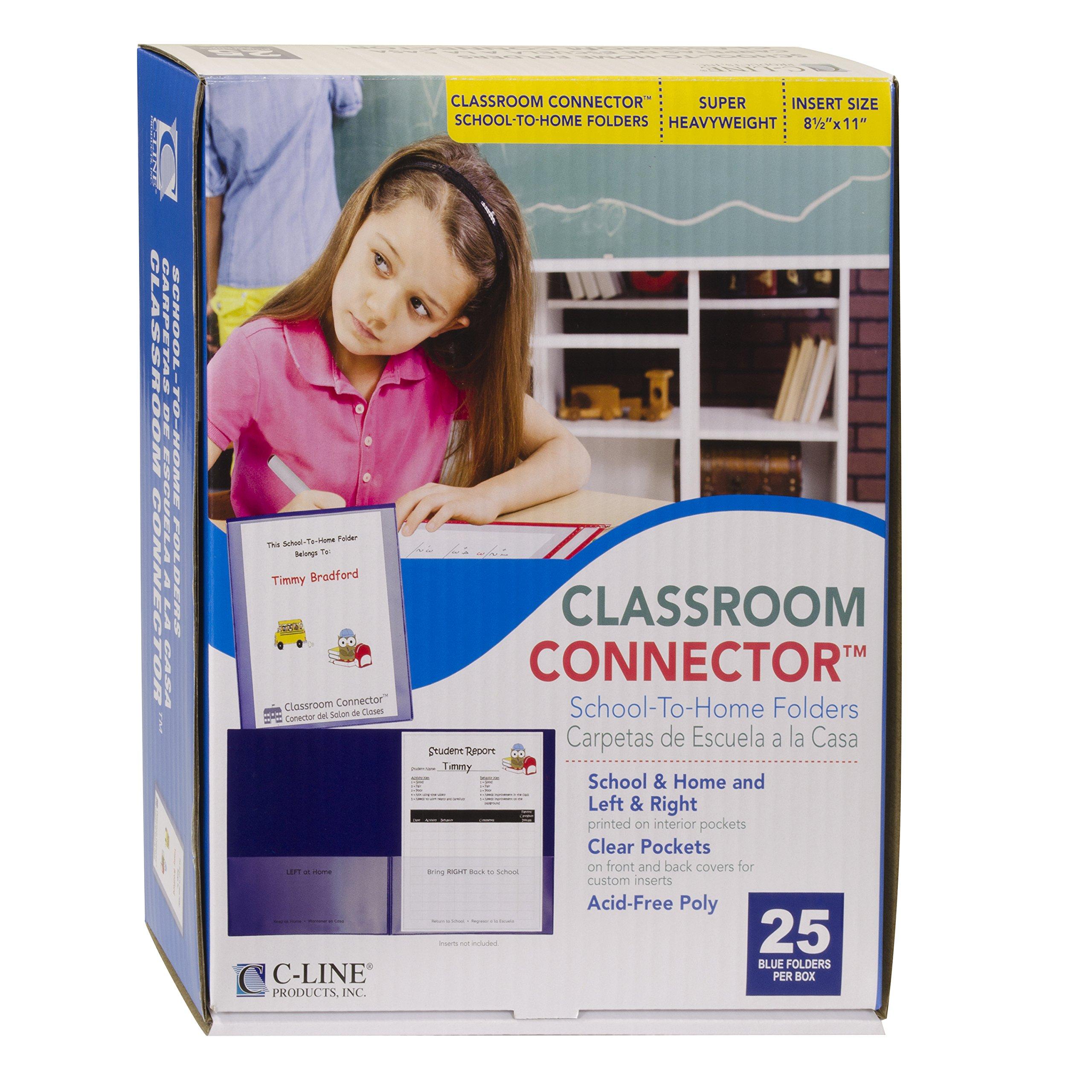 C-Line Classroom Connector School-to-Home Folders, Blue, 25 per Box (32005)