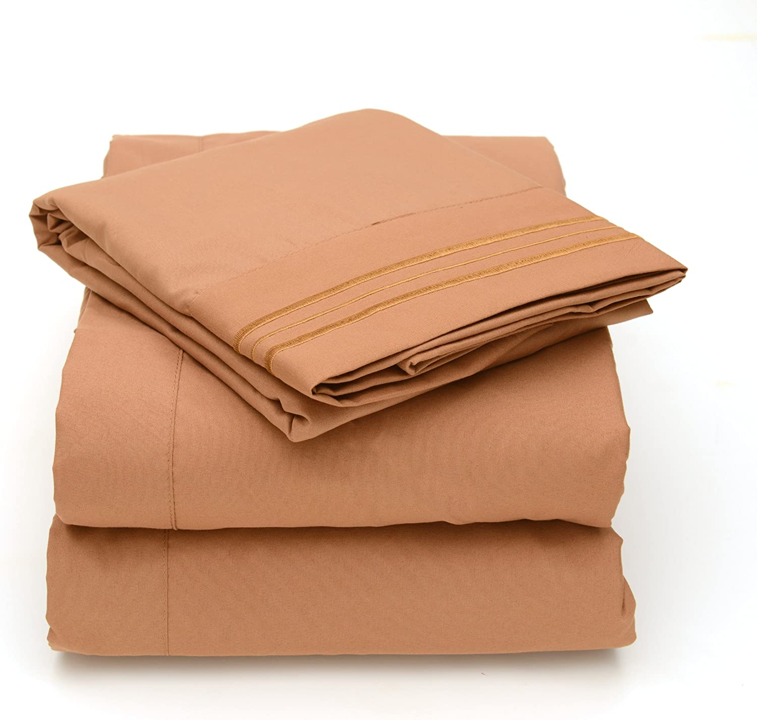 Sweet Home Collection 4 Piece 2000 12 Colors Collection Egyptian Quality Deep Pocket Bed Sheet Set, King, Mocha