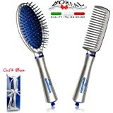 Professional hairbrushes set: oval cushion brush and comb. 100% made in Italy. Good gift idea for woman. Dry wet smooth curly hair.