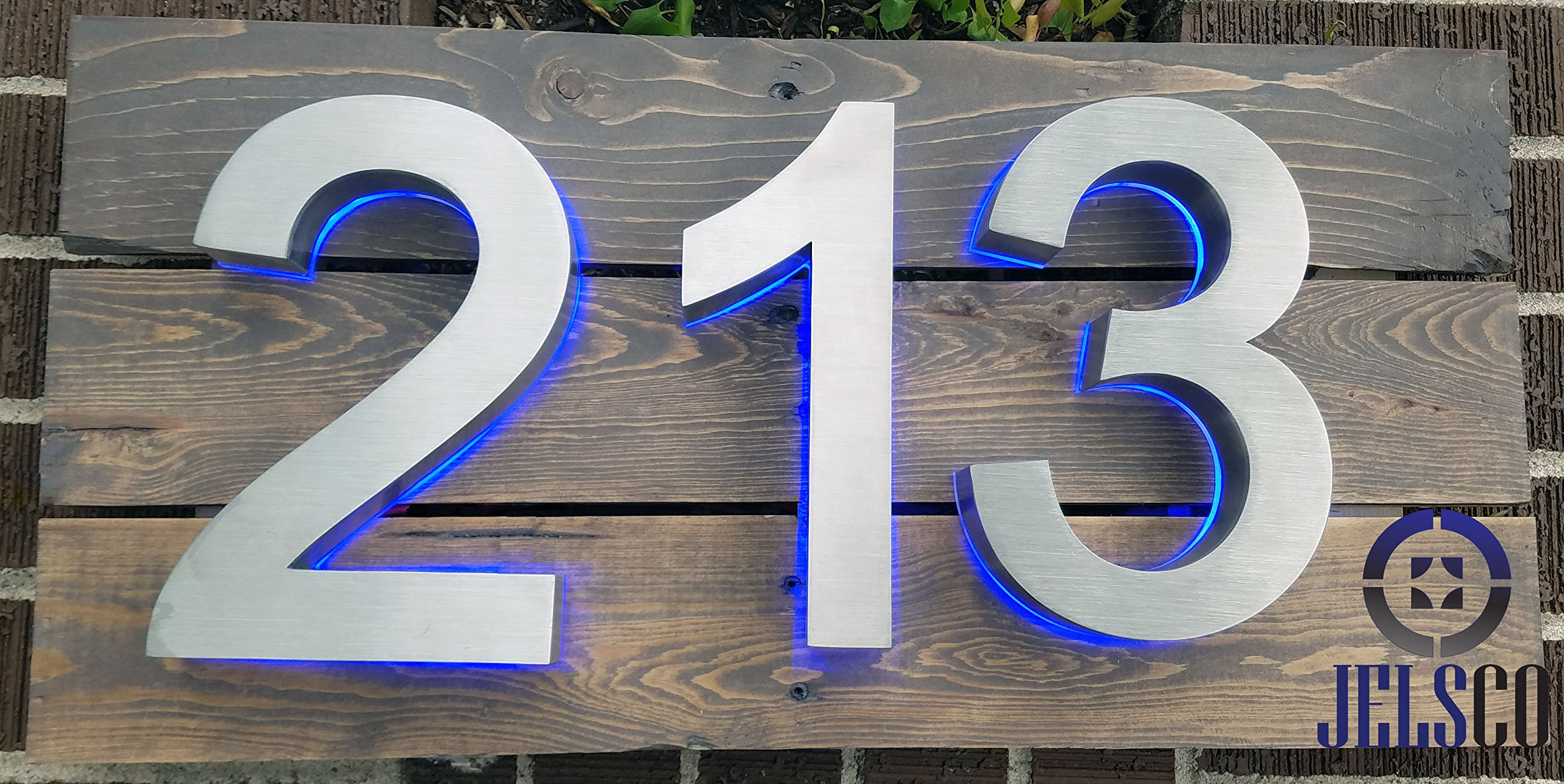 Backlit LED House Numbers (8 Inch Blue) Big, Modern Address Signs for Homes | Soft, Exterior Glow | Brushed Stainless-Steel Finish | Weather Resistant, Durable, Wired | by JELSCO (9) by JELSCO (Image #6)