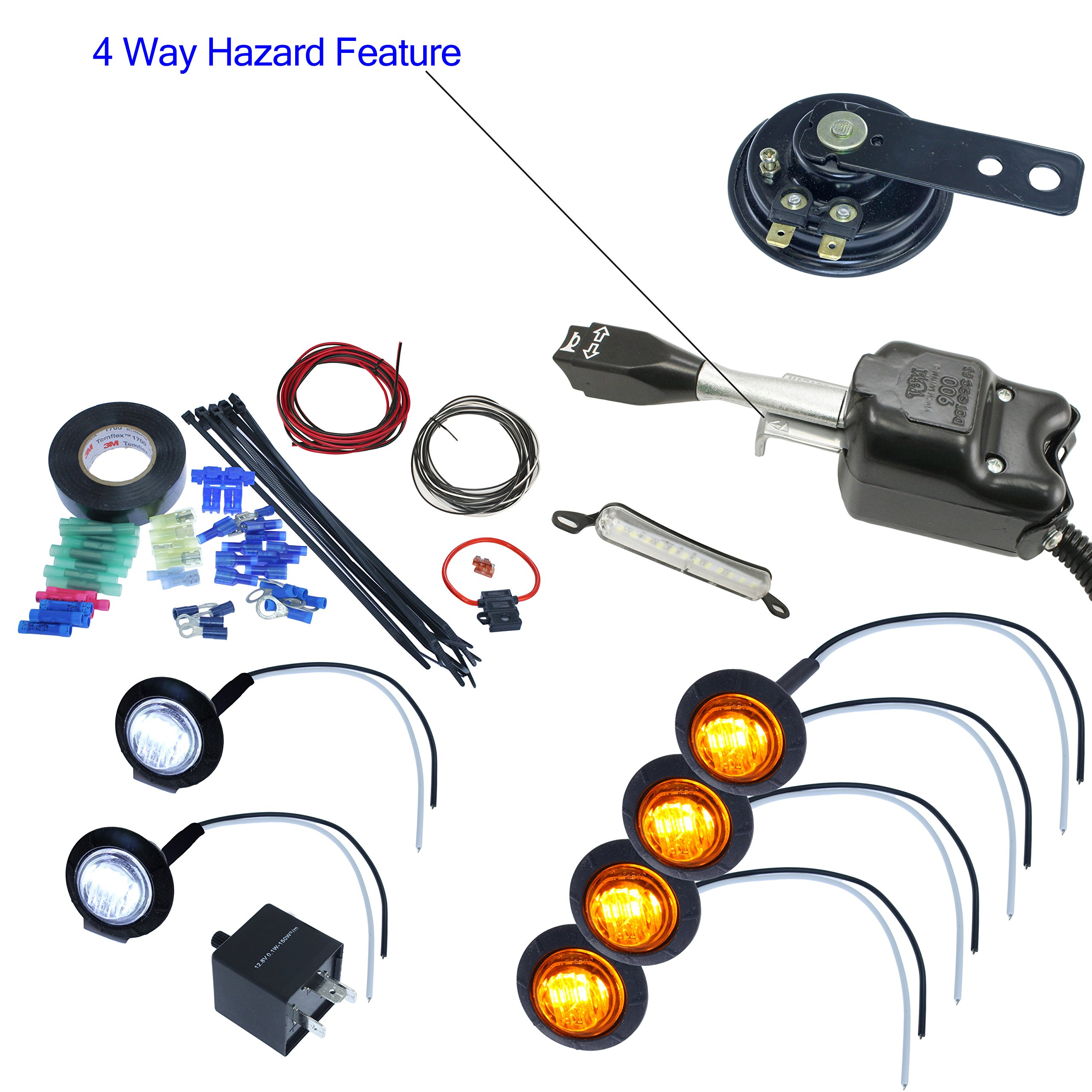 UTV Heavy Duty Lever Switch Turn Signal Kit with Horn and Hardware Kit (Round: 4 Amber)