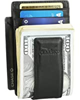 Money Clip Leather Wallet For Men Slim Front Pocket RFID Blocking Card Holder With Strong Magnetic