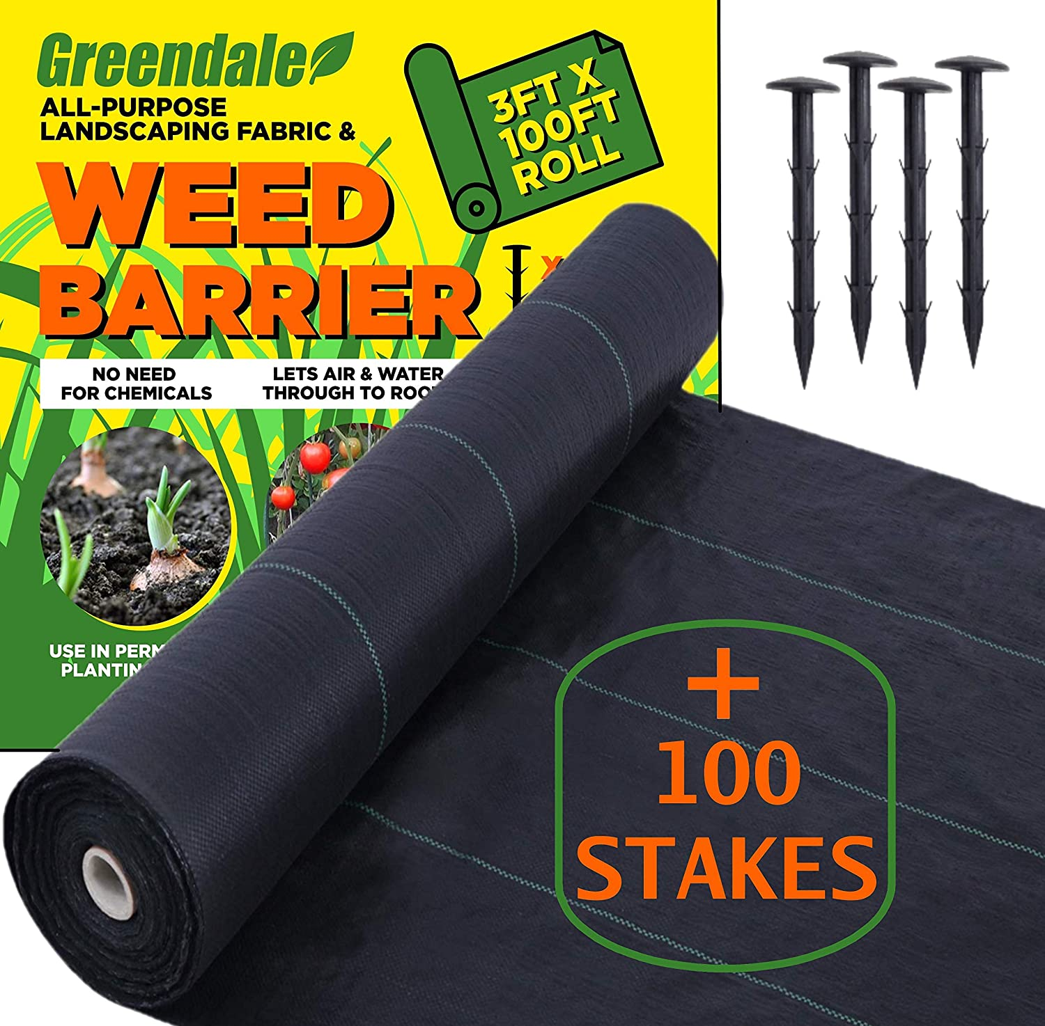 Greendale - 3ft x 100ft Roll - Plus 100 Garden Stakes - Landscape Weed Barrier Ground Cover Fabric - Heavy Duty Landscaping
