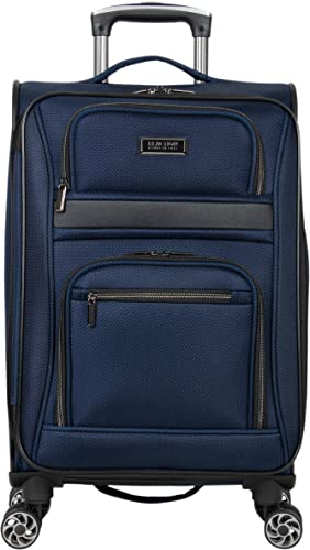Kenneth Cole Reaction Rugged Roamer 20 Softside Expandable 8-Wheel Spinner Carry-On Travel Suitcase, Navy, inch