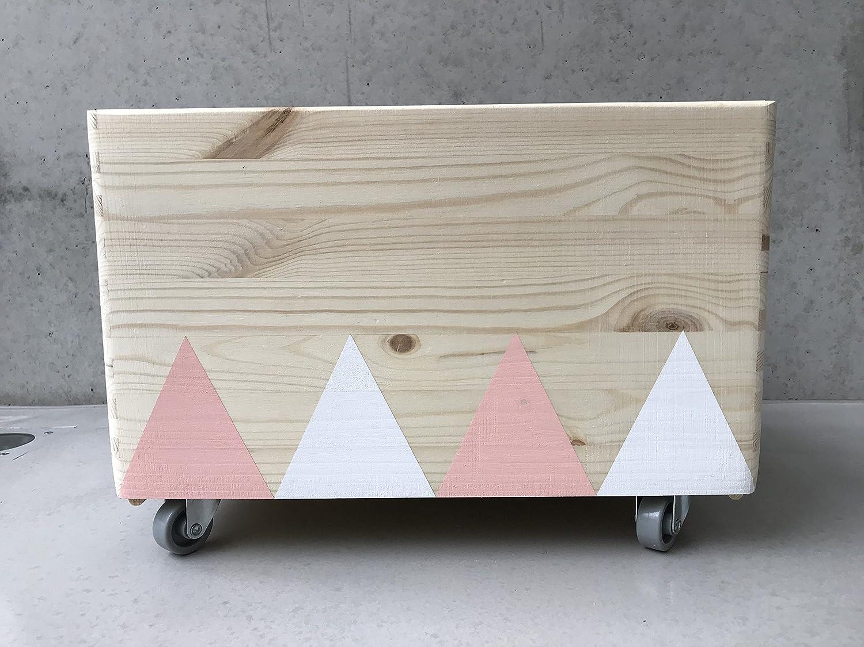 Holz Spielzeugkiste Weiß/Rosa - Rollen Triangel skandinavisch