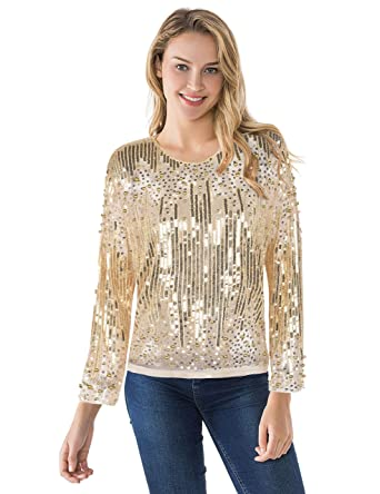 522a19b186a3c PrettyGuide Women s Sequin Blouse See Through Party Tops Beaded Sparkly  Shirts S Gold Beige