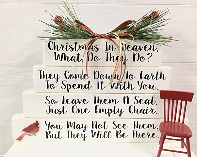 christmas in heaven with chair and base memorial gifts christmas gifts