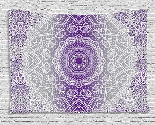 Ambesonne Grey and Purple Tapestry, Ombre Mandala Abstract Eastern Art Cosmos Theme Sign Design Oriental Print, Wide Wall Hanging for Bedroom Living Room Dorm, 80 X 60 , Violet