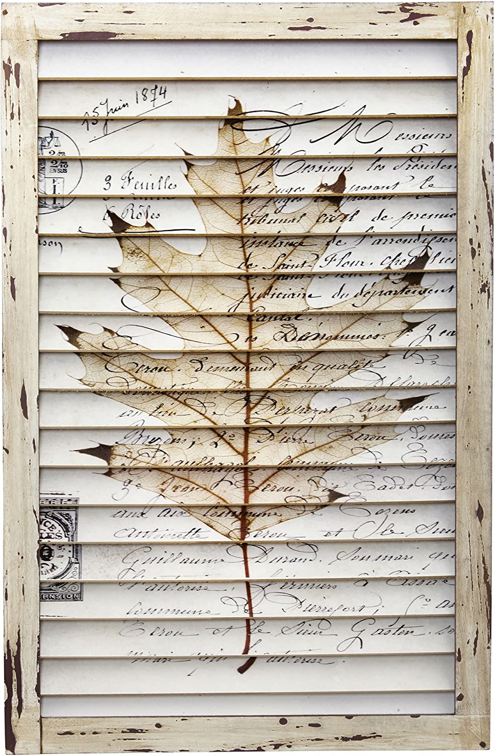 Nearly Natural 7023 Maple Leaf Window Shutter Wall DÃcor,Multicolor,24'' x 1.75'' x 16''