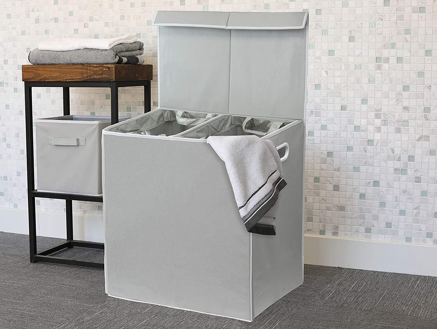 Double Laundry Hamper with Lid and Removable Laundry Bags, Grey