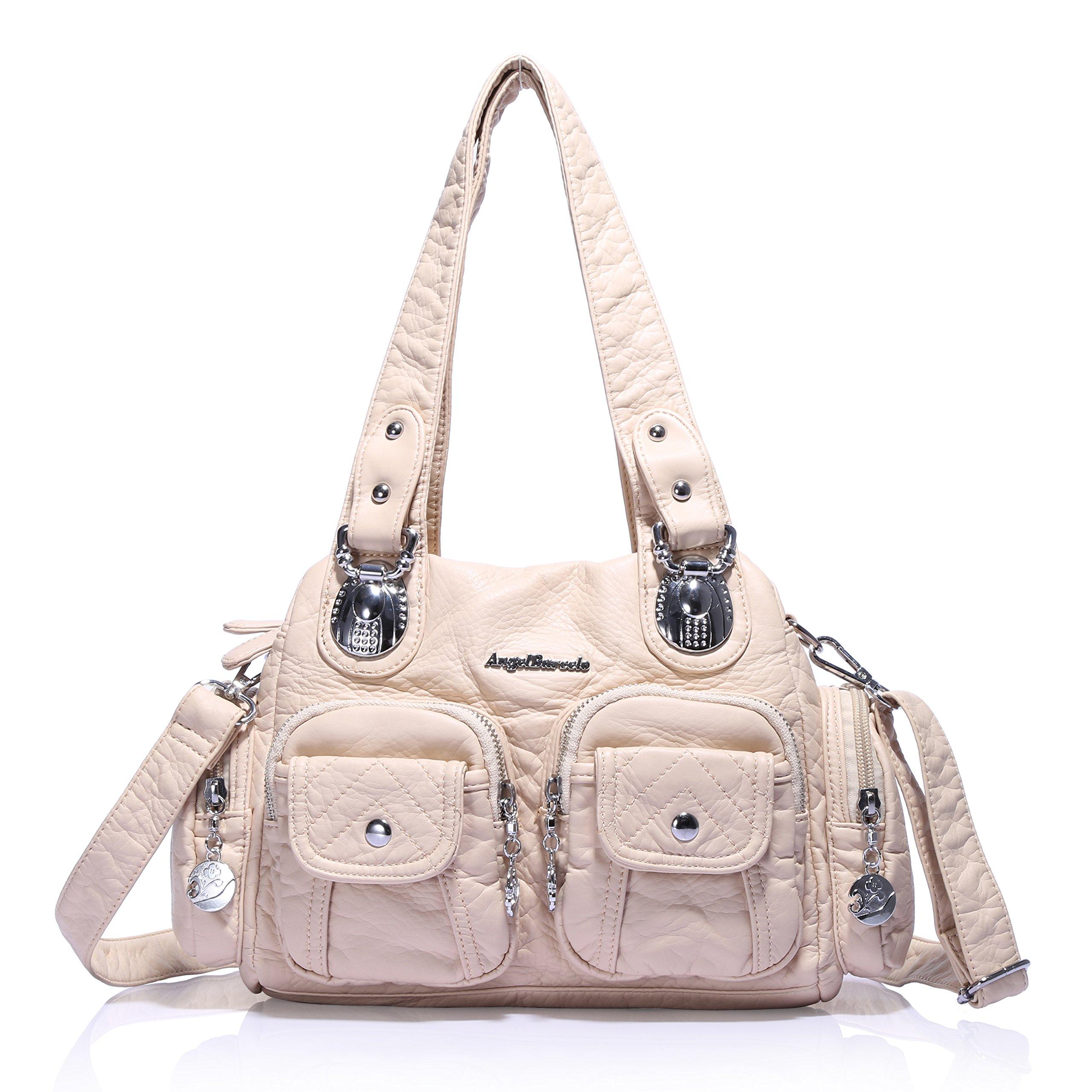 Angel Barcelo 3 Mini Handbags Women Purse PU Leather Top Zippers Multi Pockets Shoulder Bags … (Beige)