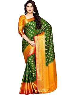 363d5bd215a496 MIMOSA Art Silk Saree With Blouse Piece(4133-266-3D-Bgrn Bottle Green Free