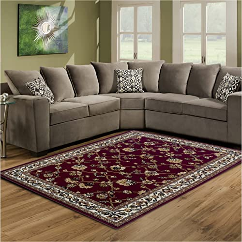 Superior 8mm Pile Height with Jute Backing, Classic Bordered Rug Design, Anti-Static, Water-Repellent Rugs, 4 x 6 Rug, Red