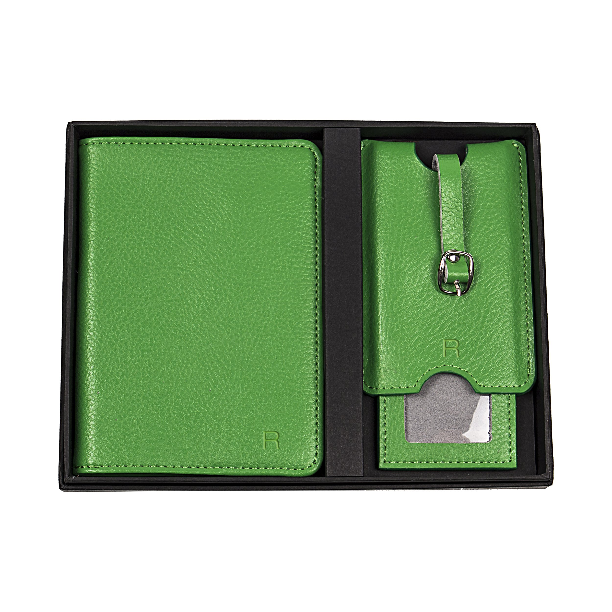 Cathy's Concepts Personalized Leather Passport Holder & Luggage Tag Set, Green, Letter R