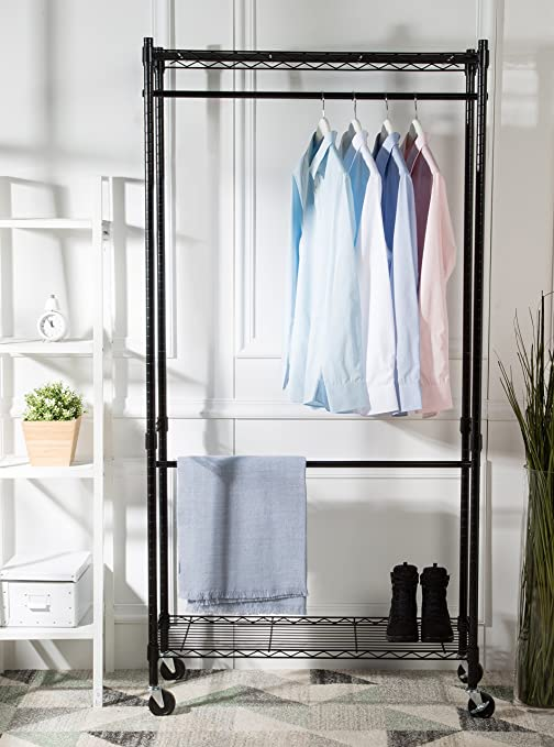AmazonBasics Double Hanging Rod Garment Rolling Closet Organizer Rack, Black