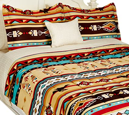 Native American Bedding Sets.Southwest Turquoise Tan Red Native American Full Comforter Set 8 Piece Bed In A Bag