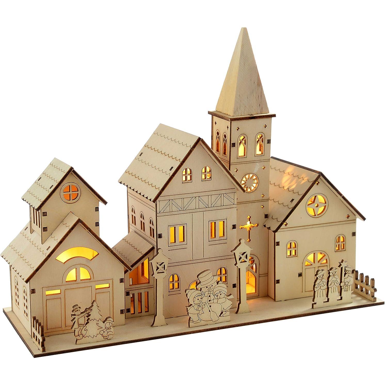 WeRChristmas - Decorazione natalizia in legno intagliato, complesso chiesa, con illuminazione a LED, 4 luci bianco caldo, 28 cm WRC-2193