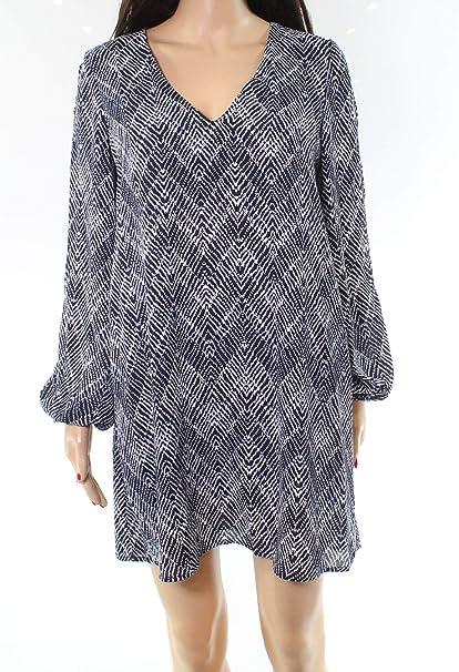 71d1948c25a91 Lush Chiffon Printed Split Sleeve Women's Shift Dress Blue XS at Amazon  Women's Clothing store:
