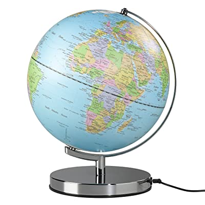 "Wild Wood Illuminated Geographic World 10"" Desk Globe with Stand, LED Lighting, and USB Plug, Classic (AWWL089): Office Products"