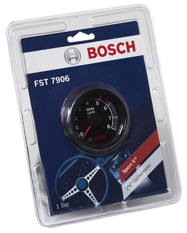 Bosch SP0F000025 Sport II 2-5//8 Tachometer Black Dial Face, Black Bezel