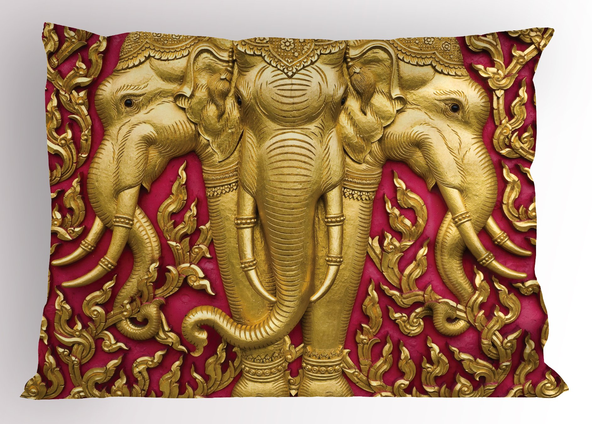 Ambesonne Elephant Pillow Sham, Yellow Toned Elephant Motif on Door Thai Temple Spirituality Statue Classic, Decorative Standard King Size Printed Pillowcase, 36 X 20 Inches, Fuchsia Mustard by Ambesonne