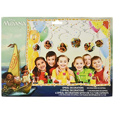 amscan Disney Moana Hanging Swirl Decorations Birthday Party Decoration Supplies 6ct: Toys & Games