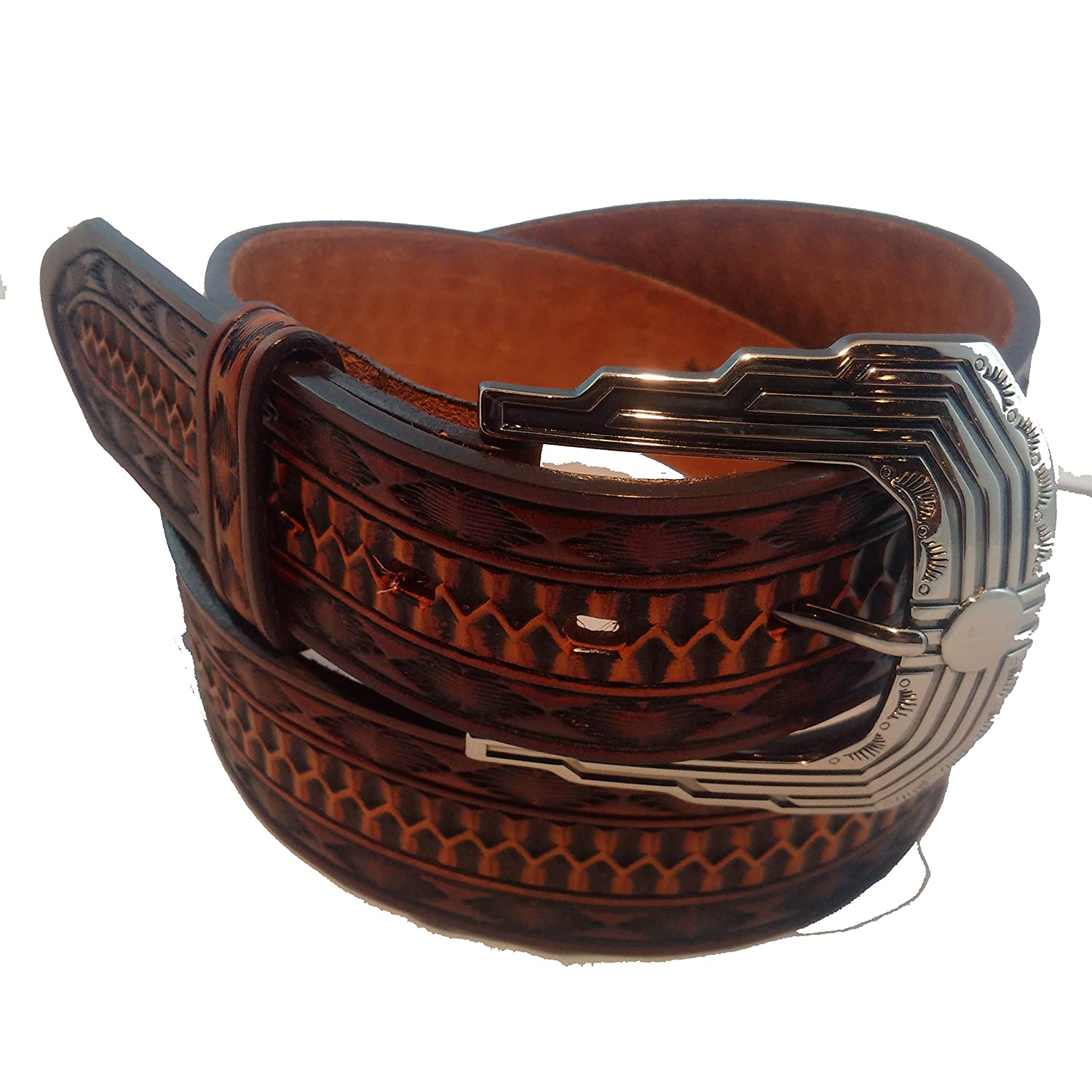 Midnight River hand tooled made in USA top grain leather and buckle belt fits 33 to 36 inches