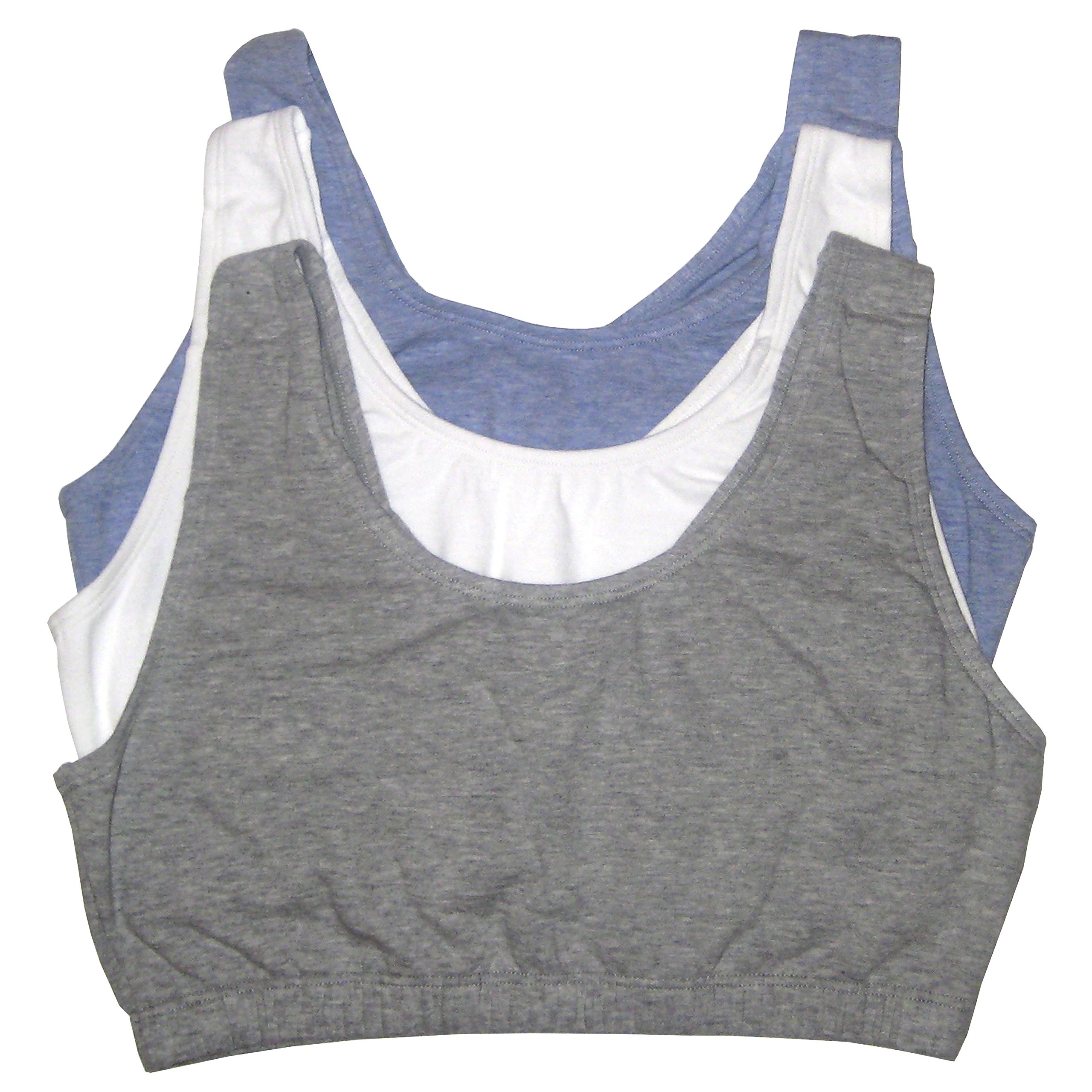 Fruit of the Loom Women's 3 PR Built-Up Sportsbra, Grey Heather/White/Blue Heather, Size 38