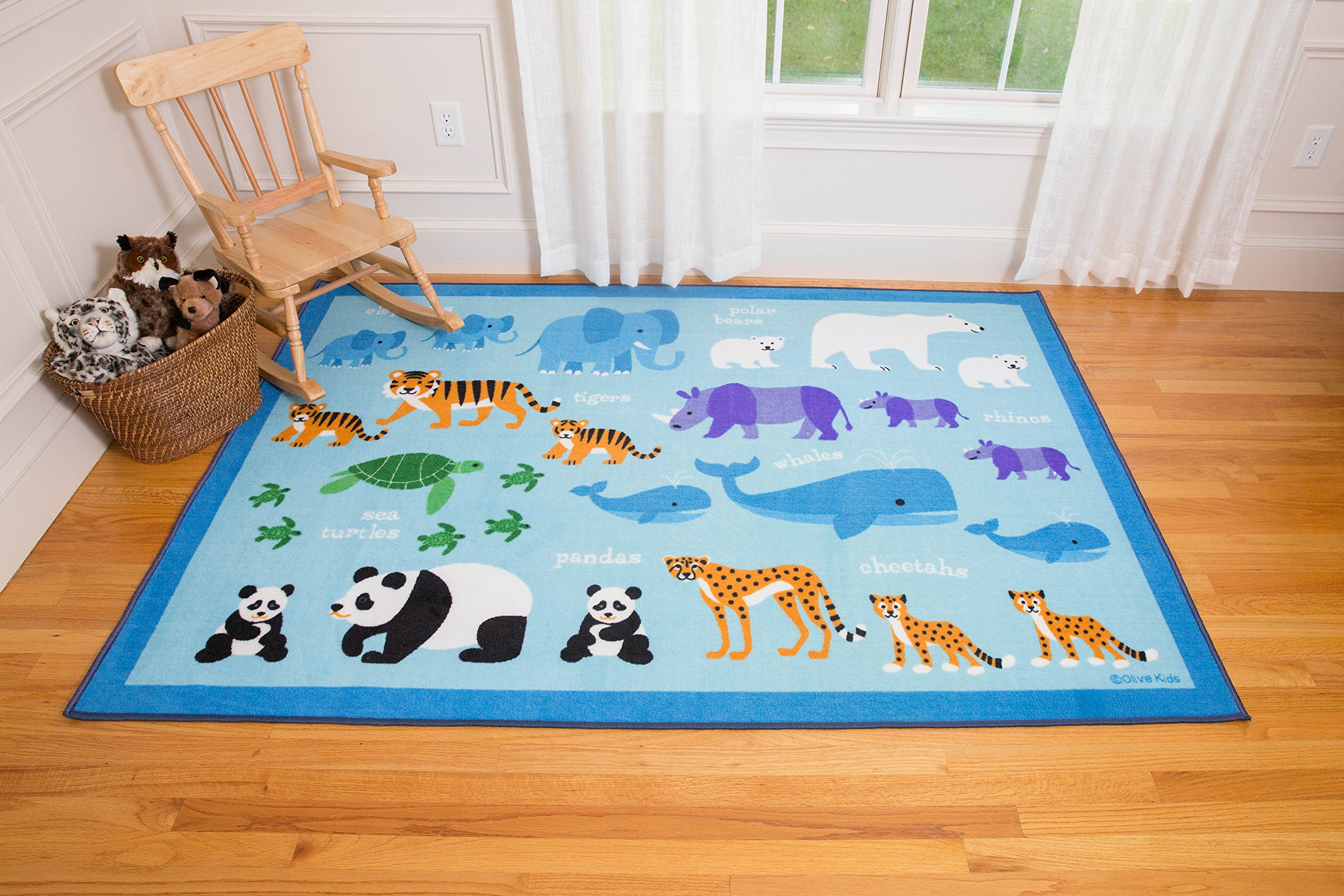 Olive Kids Endangered Animals 5x7 Rug by Wildkin