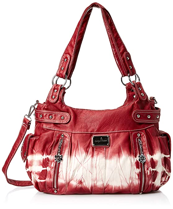 Angelkiss 2 Separated Compartments Large Capacity Purses and Handbags Soft Leather Shoulder Bags Women AK19244/2 (Amaranth Red) …