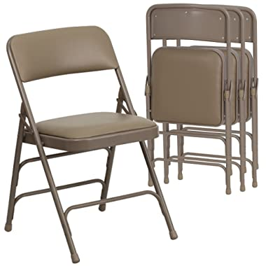 Flash Furniture 4 Pk. HERCULES Series Curved Triple Braced & Double Hinged Beige Vinyl Fabric Metal Folding Chair