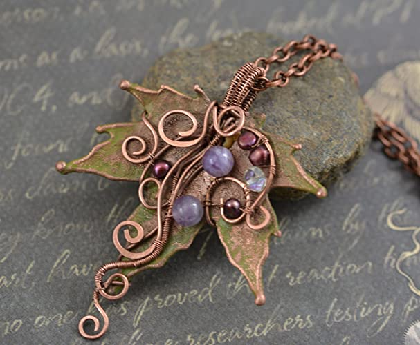 Amazon.com: Antique Real Copper Maple Leaf Necklace Electroformed ...