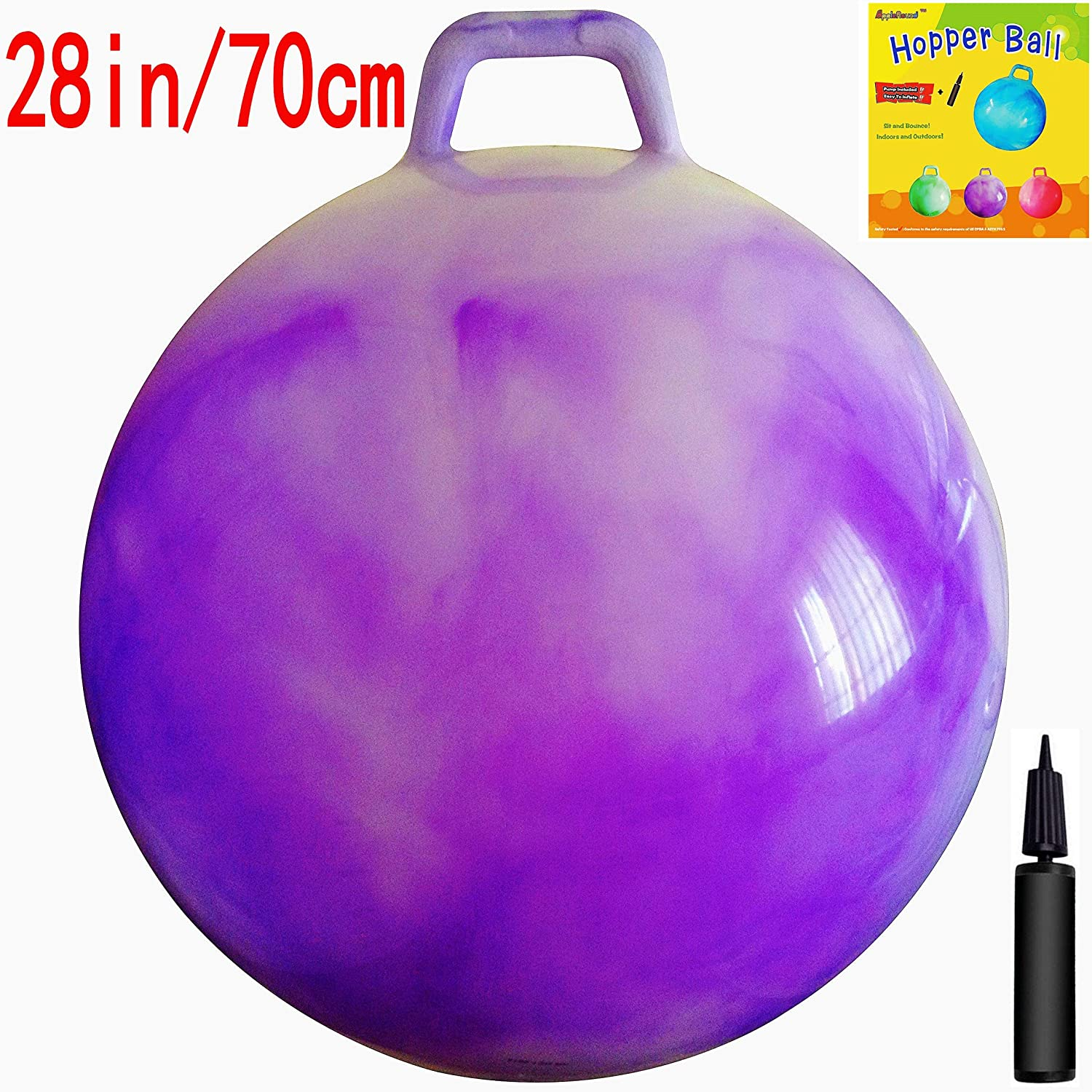 AppleRound Space Hopper Ball with Air Pump 28in 70cm Diameter for Age 13 Hop Ball Kangaroo Bouncer Hoppity Hop Jumping Ball Sit Bounce