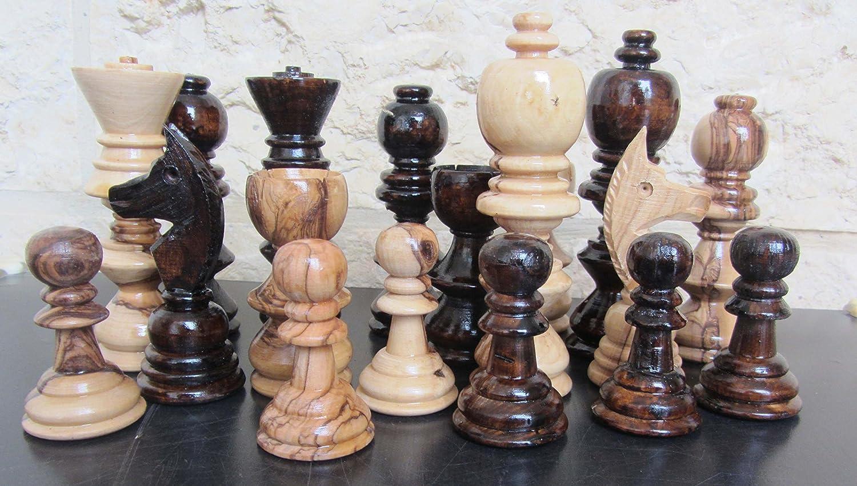 即日発送 Jerusalem B00LLM88NW Pieces Large Olive Wood Chess Set Pieces 5.2