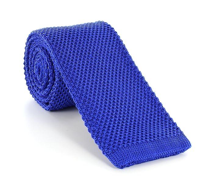 Michelsons of London Skinny Seda Corbata de punto Azul azul claro ...