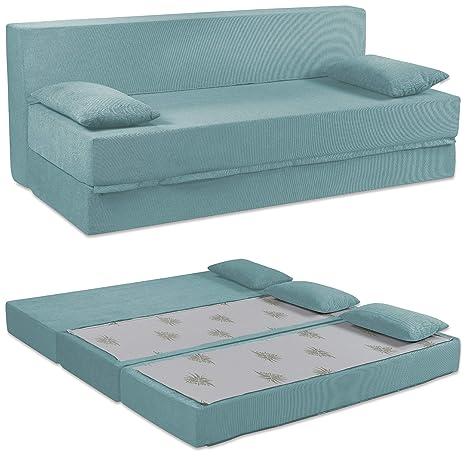 Baldiflex Sofá Cama de 3 Plazas Espuma viscoelastica, Modelo Tetris. Confortable Funda extraíble y Lavable. Color Aguamarina.