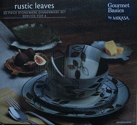 Gourmet Basics By Mikasa Rustic Leaves 20 Piece Stoneware Dinnerware Set & Amazon.com | Gourmet Basics By Mikasa Rustic Leaves 20 Piece ...