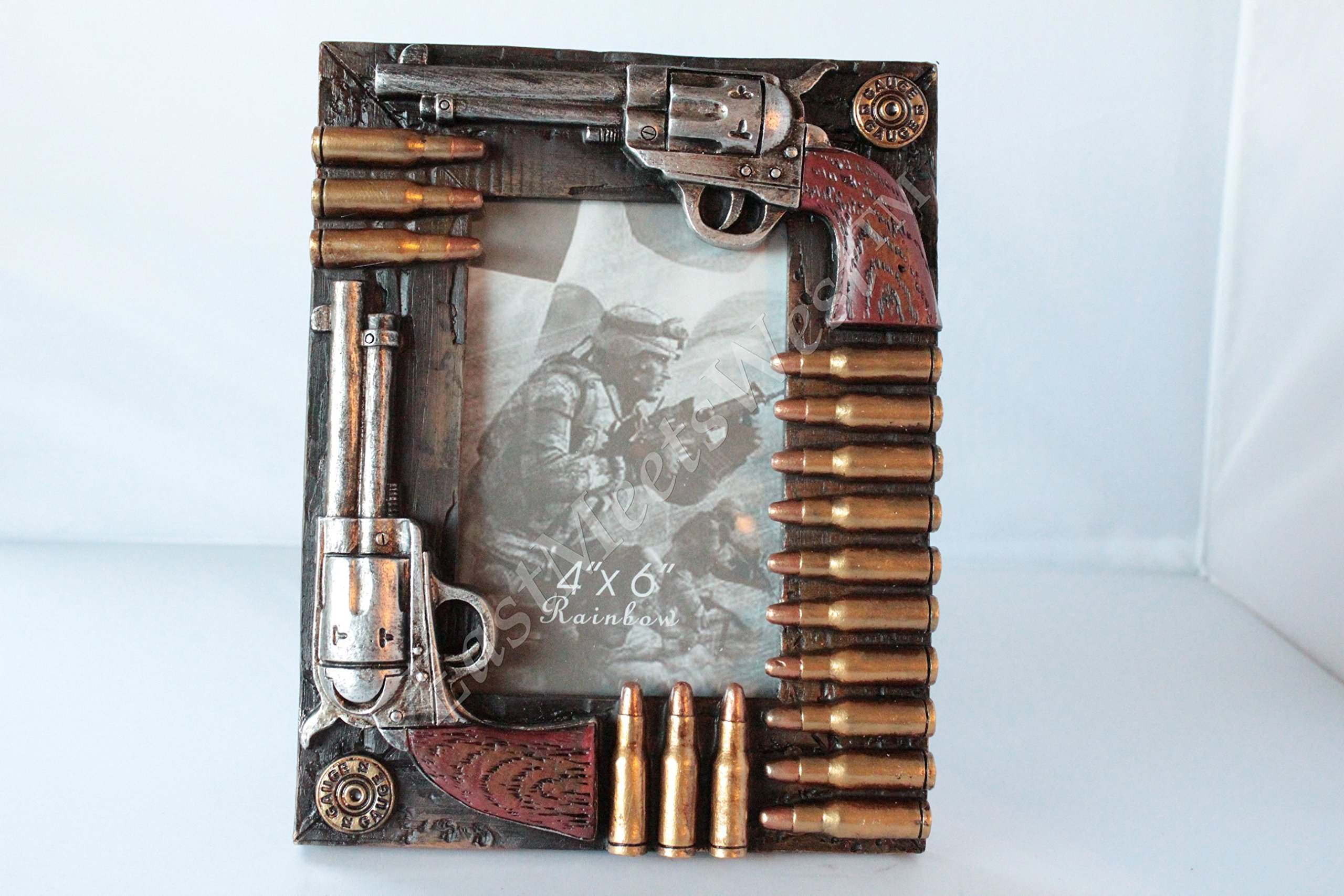 Western Cowboy Cowgirl Double Pistols & Bullets Hand Painted Picture Photo Frames 6 x 4'' Photo