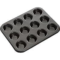 MASTERPRO MPHB17 Muffin Cupcake Pan, Carbon Steel/Black