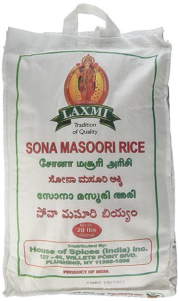 Laxmi, arroz de grano mediano Sona masoori natural, 20 ...