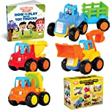 Educational Play Set for Kids Age 1, 2, 3 - Push & Pull Cars for Two Year Olds - Storybook Toys for 2 Year Old Boy -Toys fo