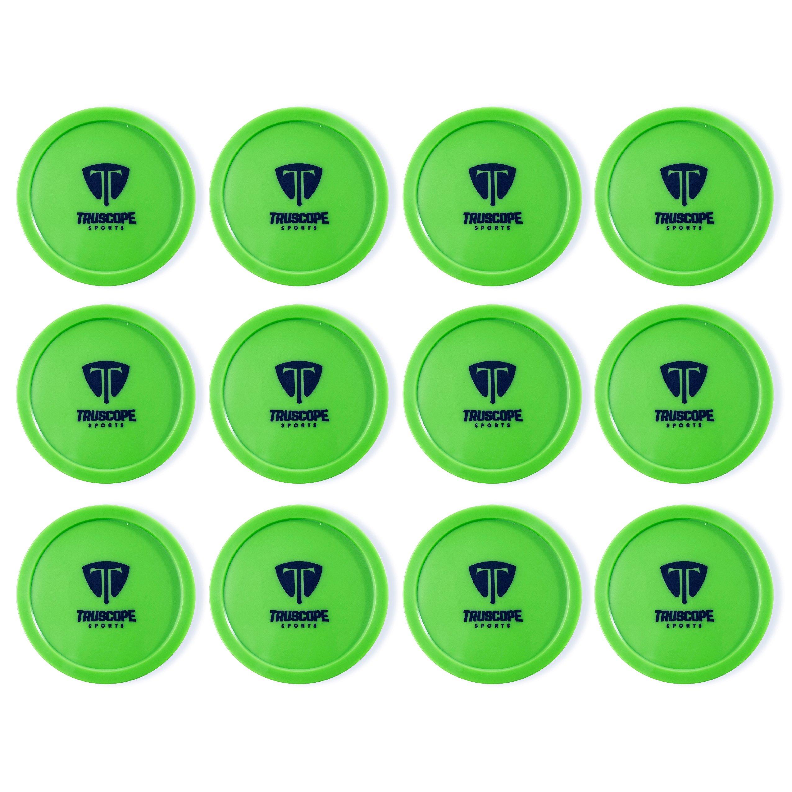 Truscope Sports 12 Pack 3 1/4 Inch Air Hockey Pucks (Green)