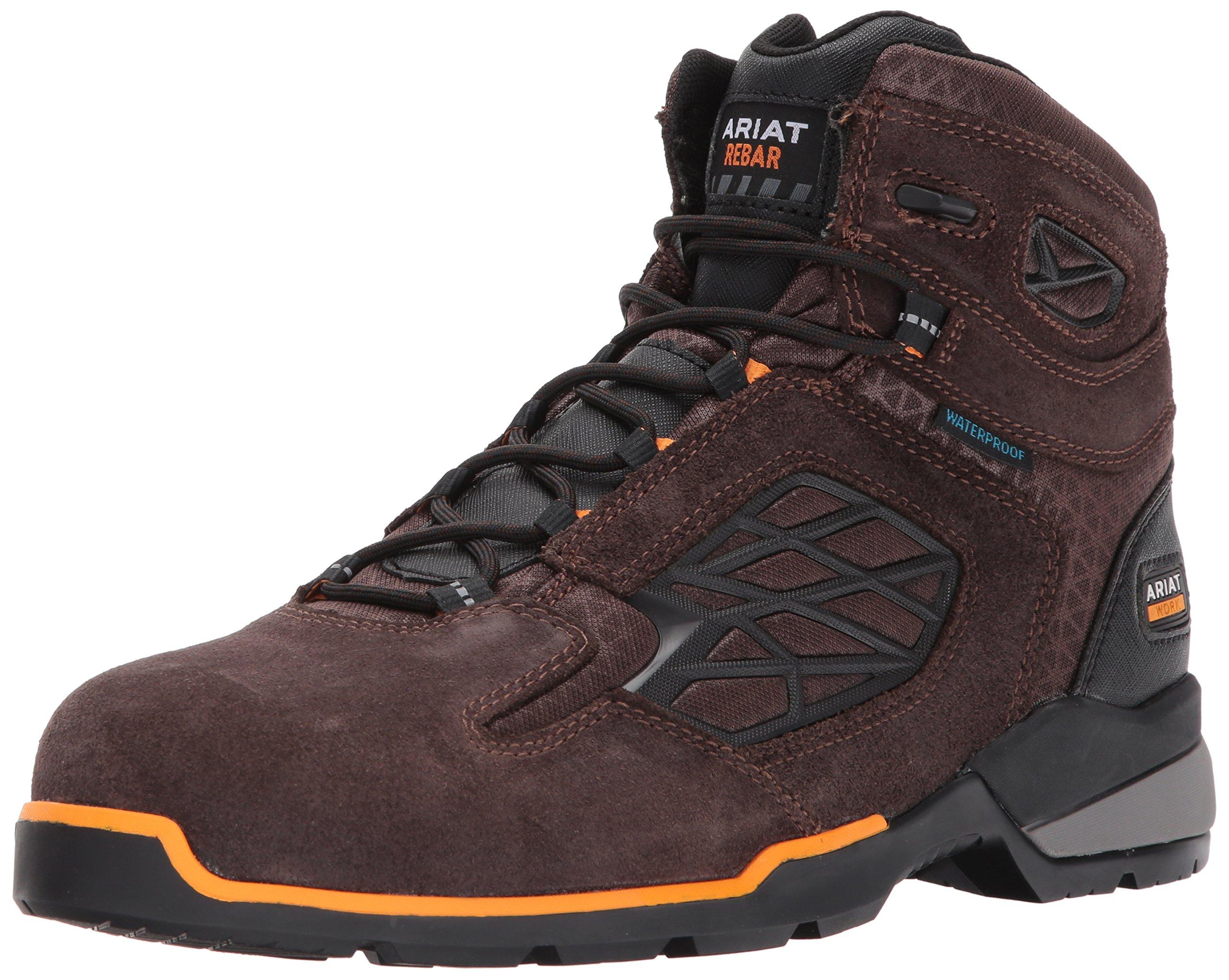 Ariat Work Men's Rebar Flex 6'' H2O Composite Toe Work Boot, Chocolate Brown, 12 E US